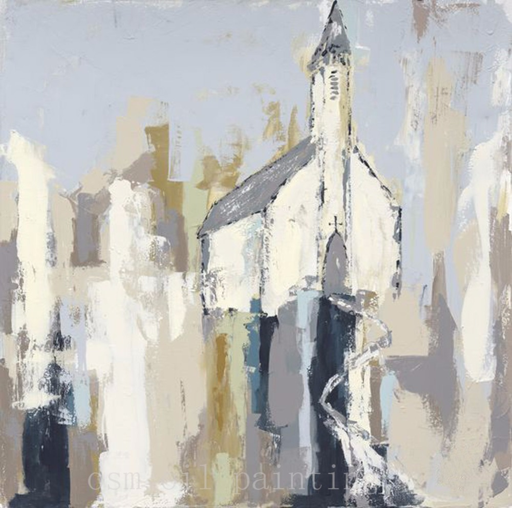 Hand Painted Little White Church Abstract Oil Painting