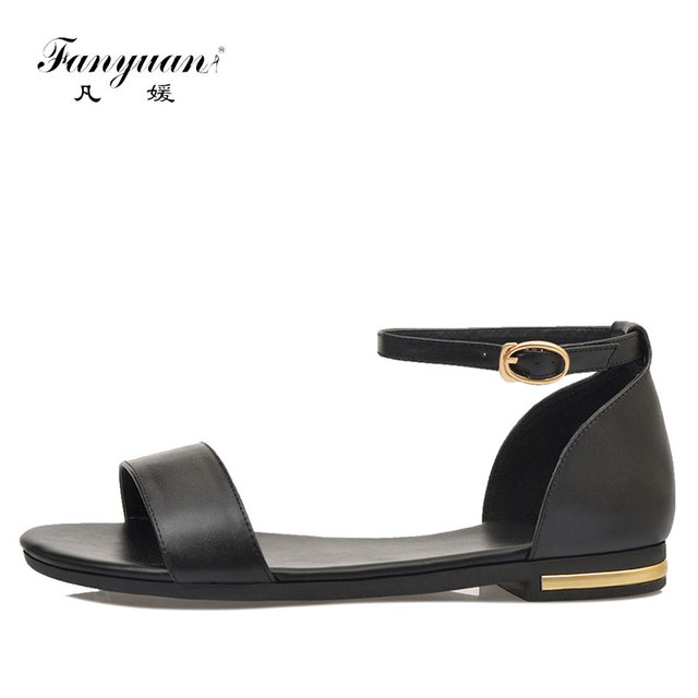 Fanyuan Summer Women Sandals Buckle strap Flat sandals Solid color Casual  Ankle strap Shoe Woman Plus size 33-43 Sapato-feminino 45a3d1980fe4