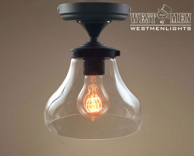 Modern retro clear glass lampshade ceiling light semi - Clear glass ceiling light ...