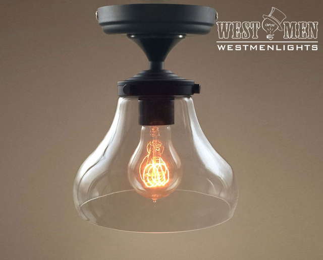 Westmenlights Vintage Small Ceiling Light Flush Mount: Modern Retro Clear Glass Lampshade Ceiling Light Semi