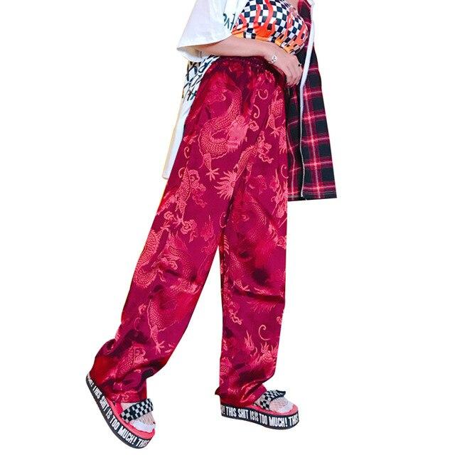 c845ee4f4 Harajuku Pants Women Chinese Style Phoenix Dragon Totem Pattern Satin  Straight Trousers Unisex Hiphop Bottom Elastic