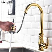 Superfaucet Вытащить Кухонный Кран, Кухня Раковина Кран, Кухня Кран Бронза, Хром Полированный Одной Ручкой Смеситель Torneira HG-6530