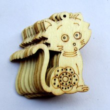 Free shipping, wholesale high quality cat die cutting wood Angle DIY scrapbook 48mm*35mm 80pcs 017001049