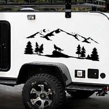Для SUV RV Camper внедорожный Воющий волк силуэт автомобильный Декор горы лесной лес животное лунный свет автомобиля наклейки