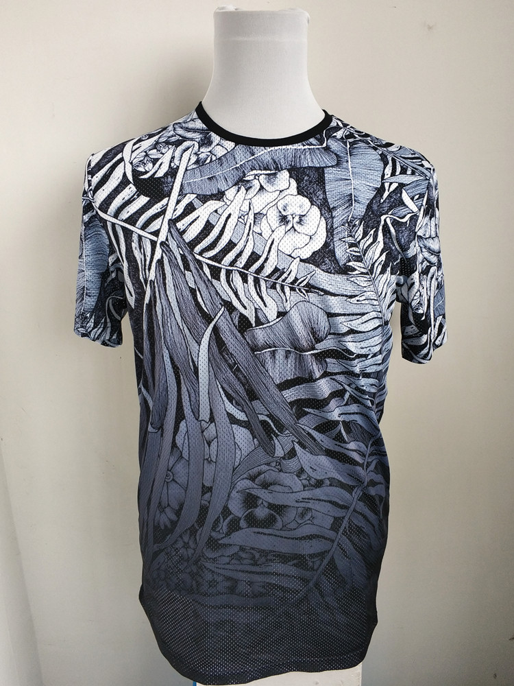 <font><b>Men's</b></font> Flower Allover Print <font><b>Mesh</b></font> T <font><b>Shirt</b></font> USA Size M (Slim and <font><b>Long</b></font> Fit) image