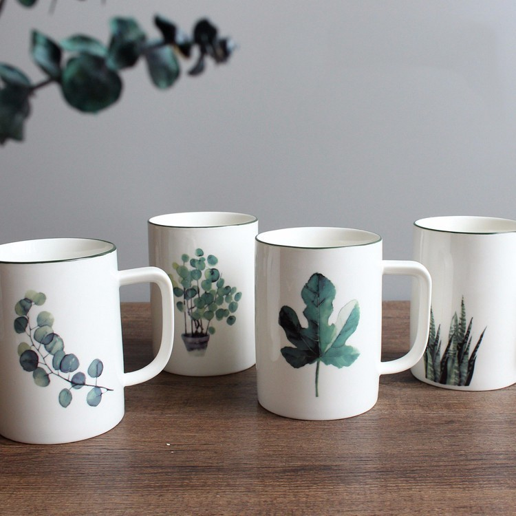 Drinkware Ceramics Green Plants Coffee Mugs Porcelain Northern Europe Small Milk Tea Lovers Mugs Cup with Handle