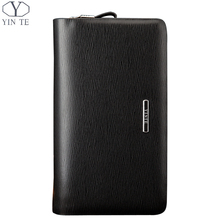 YINTE Leather Men's Clutch Wallets Fashion Men Purse Double Zipper Black Bag Passport PursePhone Wallet Hand Bags Clutch T033-2
