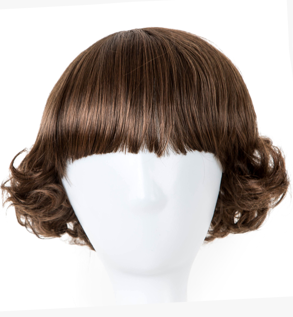 Hair Extensions & Wigs Fei-show Inclined Bangs Hair Synthetic Heat Resistance Fiber Dark Brown Short Curly Children Wigs For 50cm Head Circumference Latest Technology Synthetic Wigs