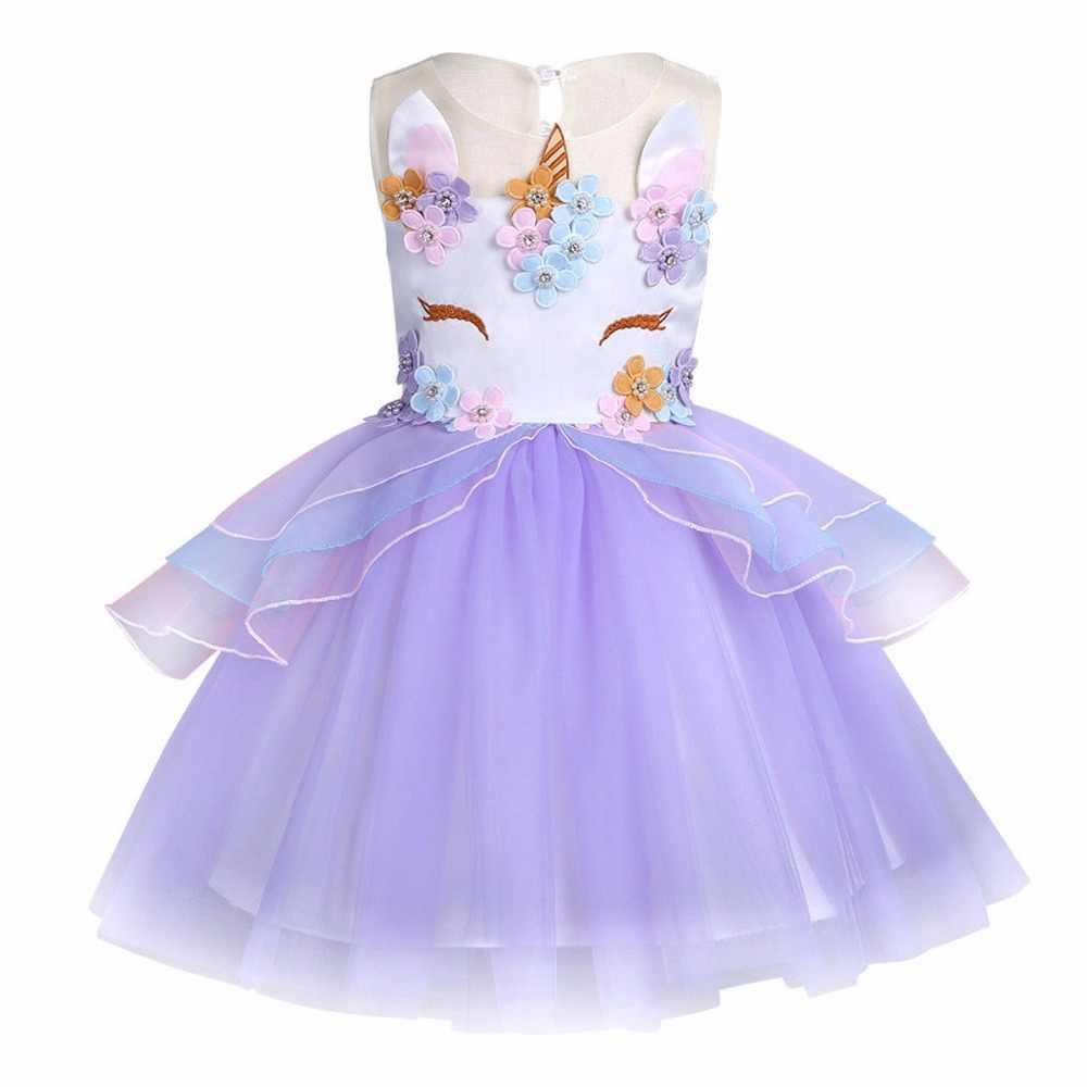 2019 niñas unicornio tul tutú vestido niños chaleco rayas Arco Iris princesa vestidos niños cumpleaños fiesta Floral Cosplay disfraces