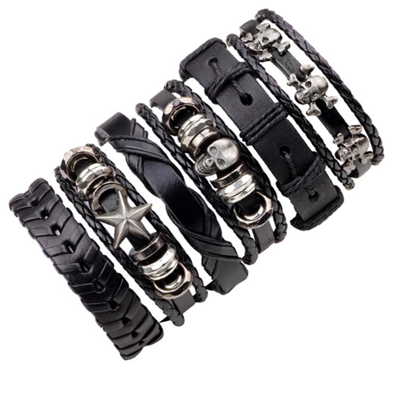 2018 New Style 6pcs/set Leather Bracelet Men Multilayer Punk Skull Star Charm Wrap for Women Vintage Bracelets Gifts