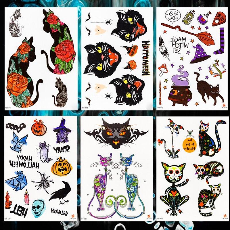 Halloween Pumpkin Magic Unicorn Waterproof Temporary Tattoo Sticker Skull Cats Black Crow Flash Tattoos Body Art Arm Fake Tatoo