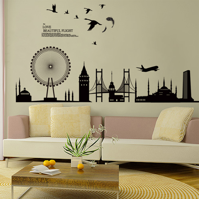 black city scene buildings birds wall decal home sticker paper art