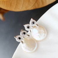 silver wholesale Manually set natural baroque pearls earrings fashion 925 sterling silver earrings owl