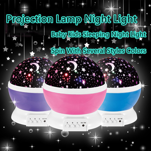 2017 Romantic Rotating Spin Night Light Projector Children Kids Baby Sleep Lighting Sky Star Master USB Lamp Led Projection
