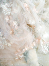Delicate champagne 5 yards /lot Pink floral tulle embroidery lace fabric bridal gown craft DIY