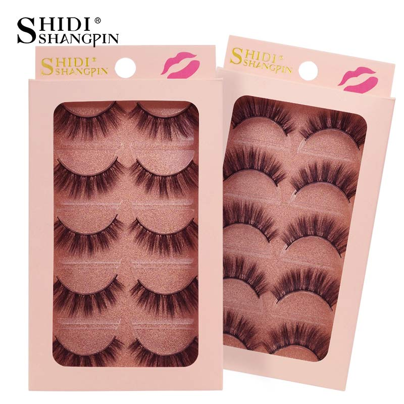 e1045337aae SHIDISHANGPIN 5 pairs strip false eyelashes natural long mink lashes makeup  hand made fake eye lashes. Mouse over to zoom in