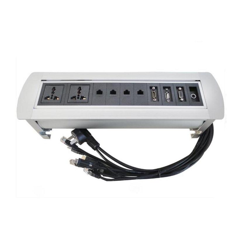 Multifonctionnel électrique manuel Rotation 180 degrés flip Socket 2 prises de courant + 4 RJ45 + 1 HDMI + 1 USB 2.0 + 1 VGA + 3.5 Audio
