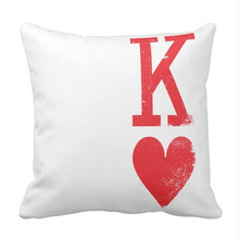 King and Queen of Hearts Playing Cards Couples Throw Pillow case