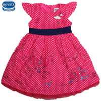 Children Clothes Summer Sleeveless Cute Embriodery Patten With Polka Dots Girl Dress Nova Kids Wear 2015