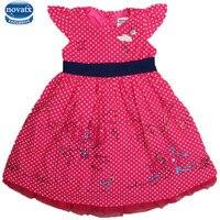 Novatx h6895 kinderkleding zomer mouwloze leuke embriodery patten met stippen meisje jurk nova kids wear hot koop stijl