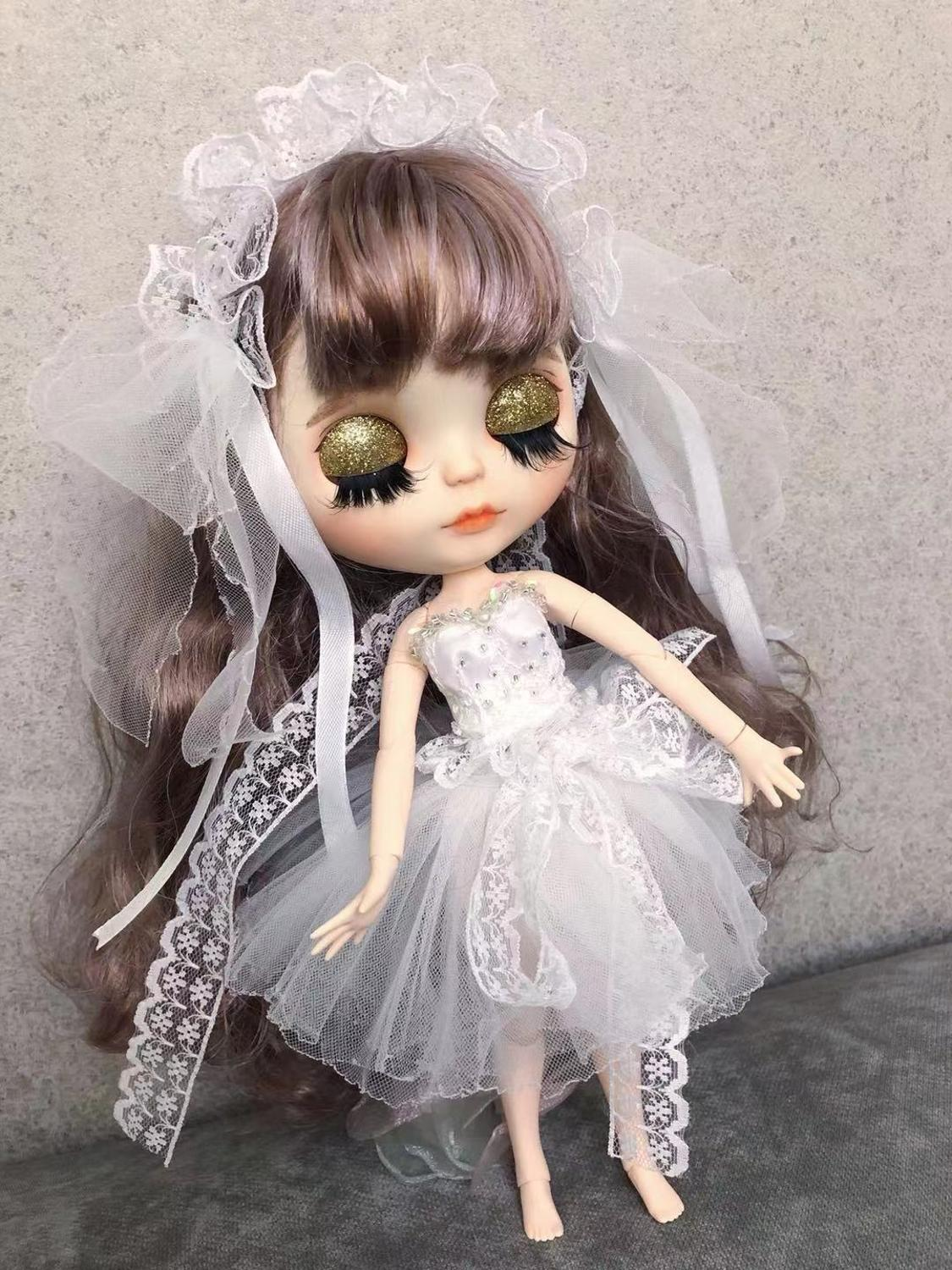 Blythe Nude Doll from Factory Golden Long Curly Hair With Make-up Eyebrow