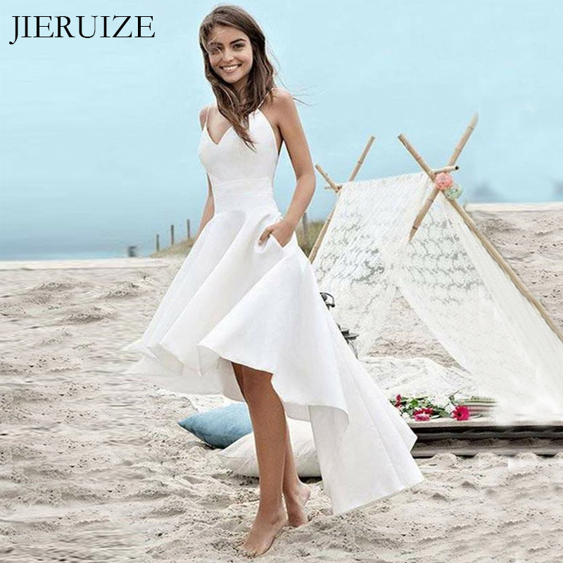 JIERUIZE White Hi Low Wedding Dresses Front Short Long Back Backless Summer Dress Wedding Gowns Bride Dresses