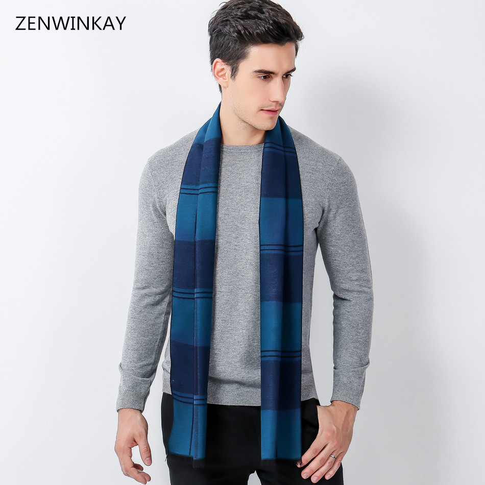 2019 Fashion Winter Autumn Male Plaid Wool   Scarf   Men Luxury Brand   Scarves   Cashmere Thick Warm   Wrap   180 * 30 Cm 6 Colors