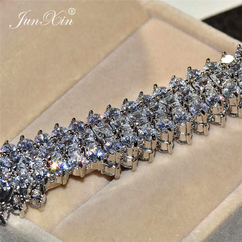 יוקרה נקבה קריסטל aaa זירקון צמיד צמיד אופנה 925 כסף תכשיטי בציר קסם חתונה צמידים לנשים