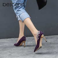BESCONE Hot Sale Autumn Pumps Sexy Pointed Toe Flower Crystal Shoes Wedding Party Fashion Lady Shoes Matching Golden Heels A16