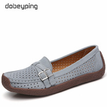 dobeyping Cow Suede Leather Women Flats Cut-Outs Summer Shoes Woman Hollow Womens Loafers Buckle Female Shoe Large Size 35-42