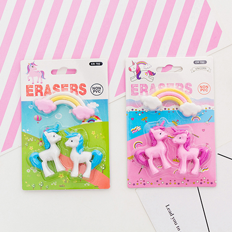 2 Pcs/pack Rainbow Unicorn Erasers Cartoon Animal Writing Drawing Rubber Pencil Eraser Stationery For Kids Gifts School Supplies