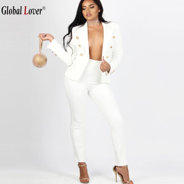 2016 Mulheres Da Moda 2 Peças Define Blazers Ternos de Negócio Das Mulheres branco Calças Das Senhoras Ternos formais Calças Ol Terno de Manga Comprida terno