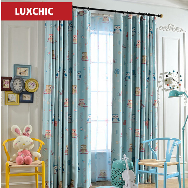 Hook top Owl Kids Curtains for Children Blue Thick Printed Blackout ...