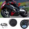 ABS Material de Calibre Digital 12 V Universal Motocicleta Velocímetro Digital Odómetro Retroiluminada Dual Speed meter con Indicador LED