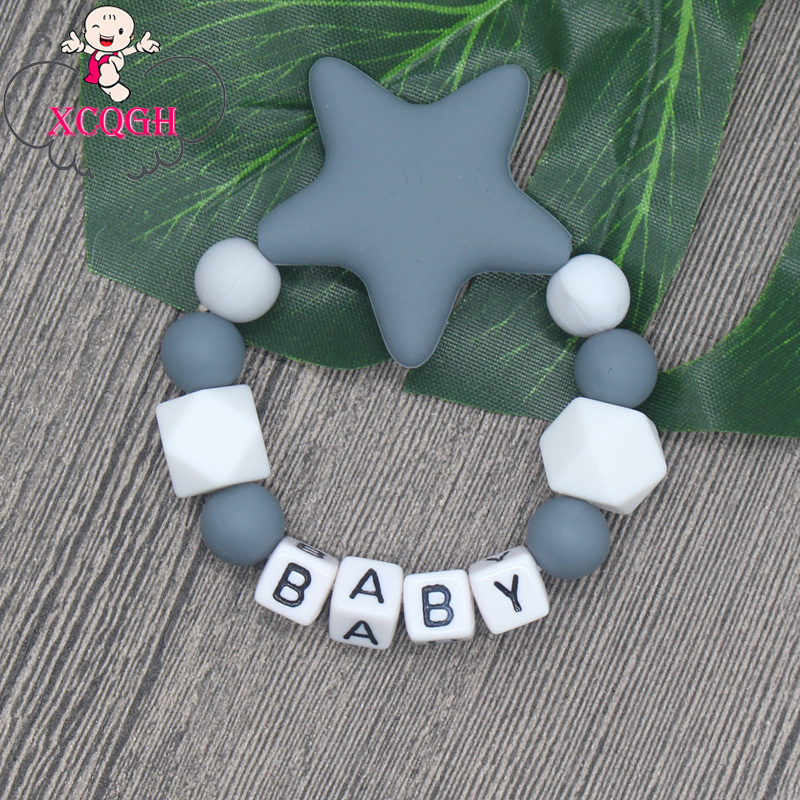 XCQGH 1pcs Personalized Baby Name Silicone Beads Baby Teether Bracelet Teeth Tooth Fixing Device Sensory Chewing Toy