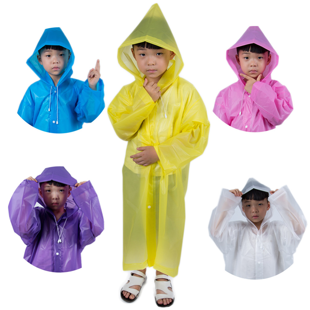 Image 2 - Fashion Frosted Child Transparent EVA Raincoat Girl Boy Rainwear Outdoor Hiking Travel Rain Gear Coat For Children-in Raincoats from Home & Garden