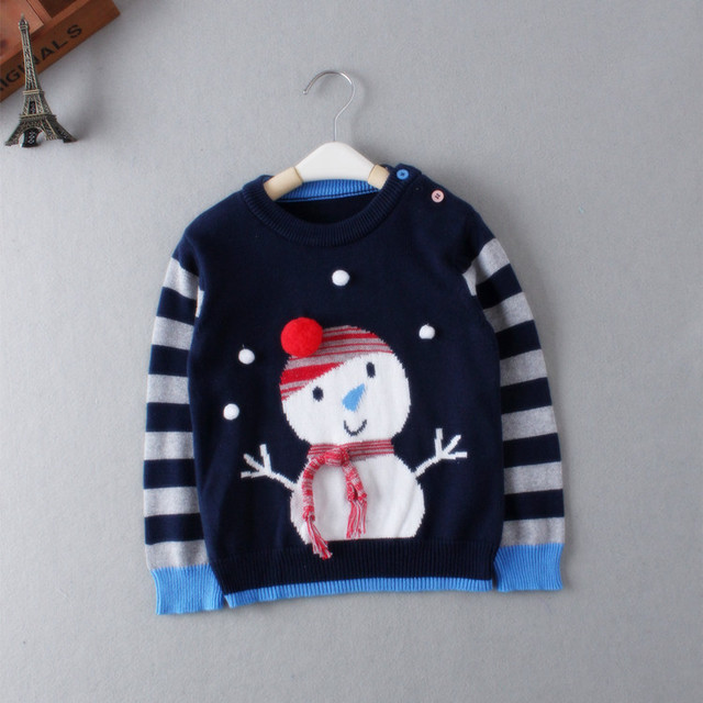 Children Sweaters Shirts baby boys girls knitted sweater Autumn winter Pullover Christmas snowman Sweater fancy kids clothing