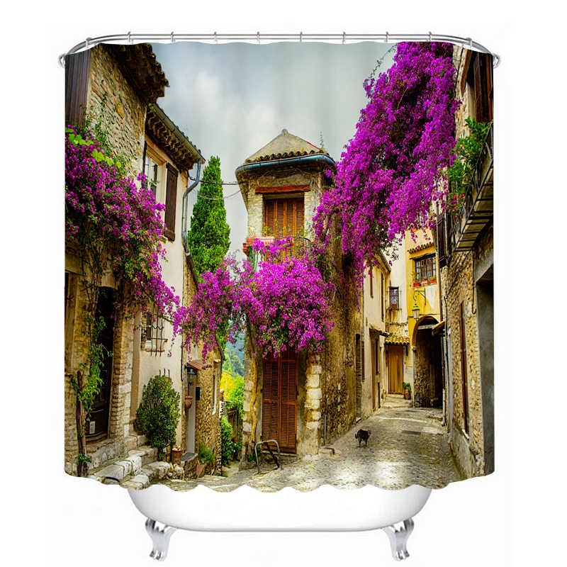 الرجعية دش الستائر الكلاسيكية بناء زهرة الشارع نمط للماء النسيج الحمام الستائر قابل للغسل الحمام المنتجات