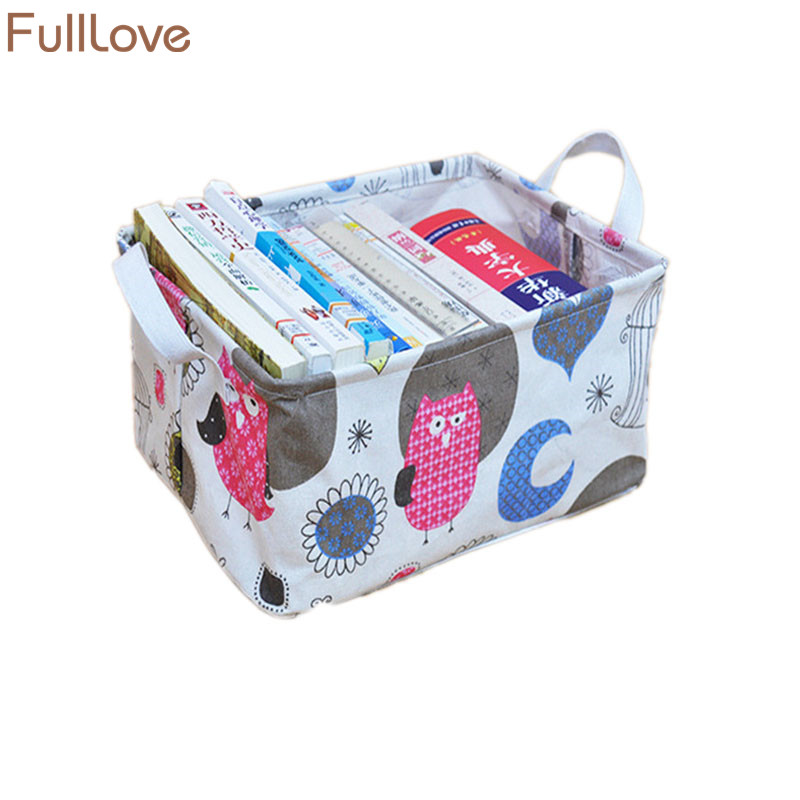 FullLove 1PC Cartoon Owls Print Laundry Basket Sundries Books Container Clothing Cosmetic Organizer Home Storage & Organization
