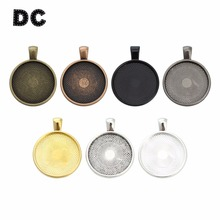 10pcs Multi Colors 25mm Necklace Pendant Setting Cabochon Cameo Base Tray Bezel Blank Fit Roun Cabochons Jewelry Making Findings