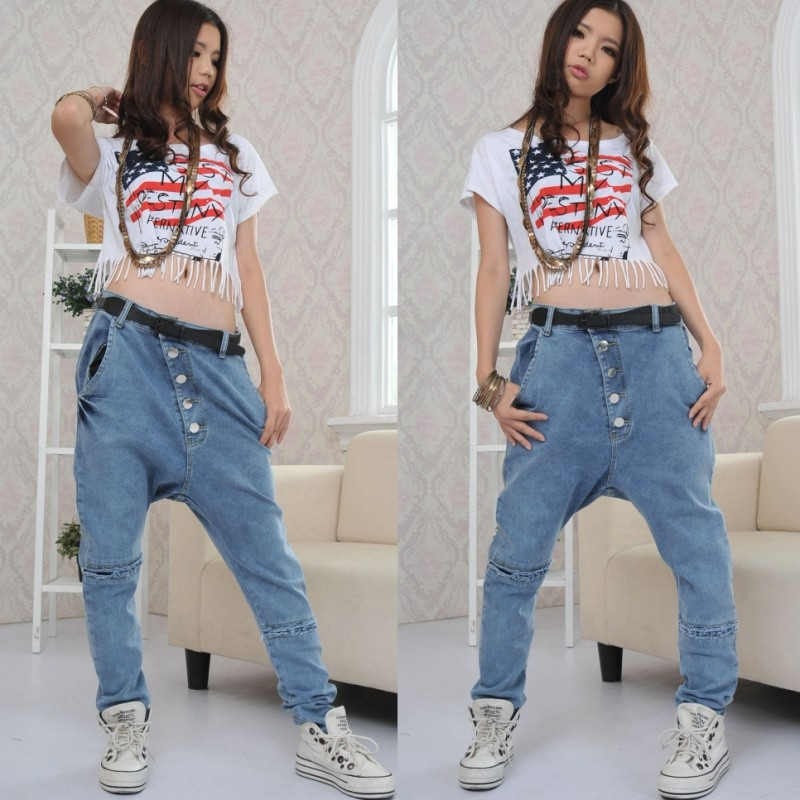 Fabulous rihanna style jeans pants female dancer pants loose elastic jeans  WQ16
