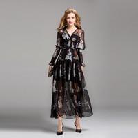 HIGH QUALITY New Fashion 2017 Designer Runway Dress Women S V Neck Dog Printed Dovetail Dress