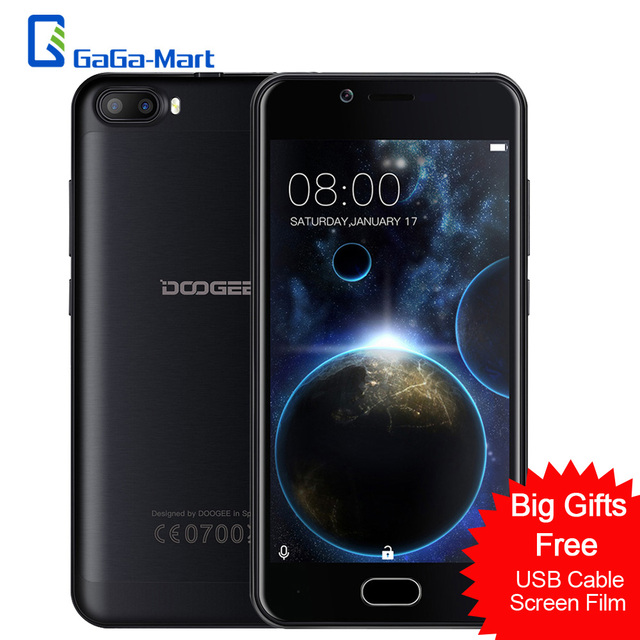 "DOOGEE SHOOT 2 Smartphone MTK6580A Quad-core 1.3GHz Android 7.0 1GB+8GB 3360mAh Fingerprint 5.0"" Inch 3G WADMA Mobile Phone"