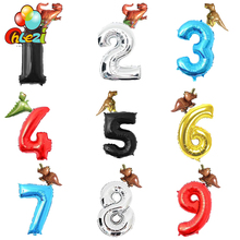 2pcs Dinosaur foil Helium Cartoon figure balloons 1 2 3 Boy #8217 Birthday decoration kids #8217 toys Dinosaur funny gifts Baby shower cheap Ballon 190110-1 Aluminium Foil Cartoon Amnimal NUMBER Birthday Party Anniversary Children s Day CHLEZI