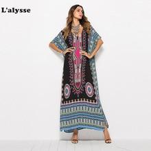 LALYSSE Women Summer Dress South American Printing V-Neck Casual Fashion Robe Beach  Bohemian de dames