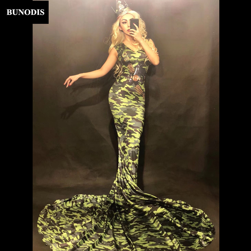 Zd283 Women Army Camouflage Sexy Long Skirt 3d Printed Nightclub Party Celebrate Performance Dancer Singer Stage Wear Costumes Be Shrewd In Money Matters Jumpsuits