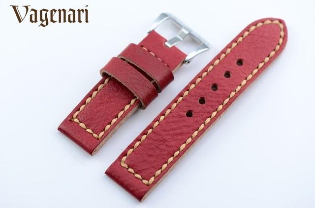 020 Red Handmade Couro Genuíno Assista Strap 24/24mm Pulseira com Fivela