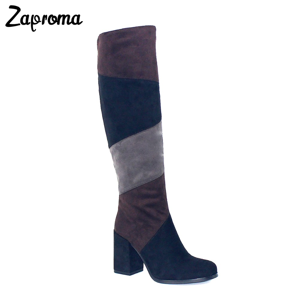 Boots Women Knee High Mix Colors Super High Heel Boot Chunky Heel Black Brown Grey Patchwork Winter Flock Shoes Zipper 2018 high quality suede boots women ankle strap chunky heel black brown fleeces buckles pu shoes winter high heel knee high punk shoe