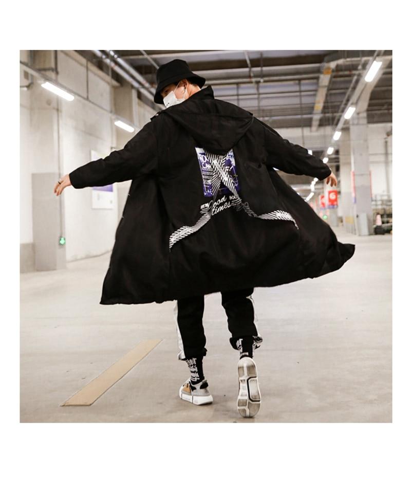 Long Men Trench Coat Casual Spring 2018 Slim Fit white Mens Hood Street South Korea Clothing (1)