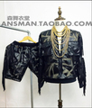 HOT 2015 new Men fashion brand DJ singer right Zhi-Long GD rock style tassel leather motorcycle jacket costume clothing